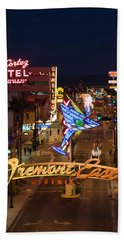 Neon Casino Signs Lit Up At Dusk, El Beach Towel