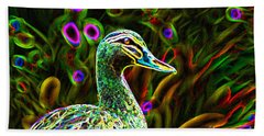 Beach Towel featuring the photograph Neon Duck by Naomi Burgess