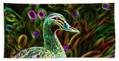 Neon Duck Beach Towel by Naomi Burgess