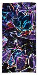 Neon Lilies Beach Towel