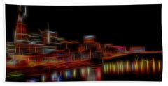Neon Nashville Skyline At Night Beach Sheet by Dan Sproul