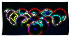 Neon Pool Balls Beach Towel by Kathy Churchman