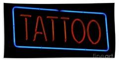 Neon Tattoo Sign Beach Towel by Phil Cardamone