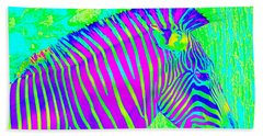 Neon Zebra 2 Beach Sheet by Jane Schnetlage