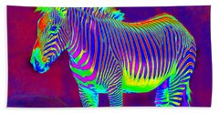 Neon Zebra Beach Towel