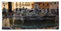 Beach Towel featuring the photograph Neptune Fountain Rome Italy by Georgia Mizuleva