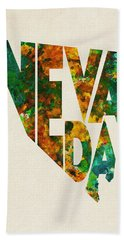 Nevada Typographic Watercolor Map Beach Towel