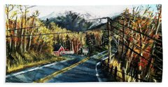 Beach Towel featuring the painting New England Drive by Shana Rowe Jackson
