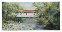 Beach Towel featuring the painting New Jersey's Last Covered Bridge by Katalin Luczay