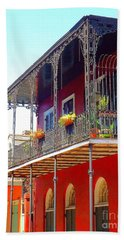New Orleans French Quarter Architecture 2 Beach Sheet by Saundra Myles