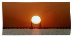 New Orleans Sailing Sun On Lake Pontchartrain Beach Sheet by Michael Hoard
