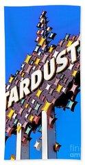 Original Stardust Casino Neon In Las Vegas Pop Art Beach Towel