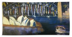 Beach Sheet featuring the painting New Year Eve On Sydney Harbour by Pamela  Meredith