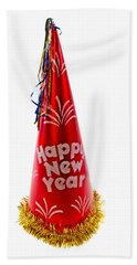 Happy New Year Party Hat Beach Sheet
