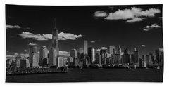 New York 1 Black And White Beach Towel