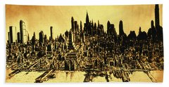 New York Skyline 78 - Mid Manhattan Ink Watercolor Painting Beach Towel
