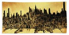 New York Skyline 78 - Mid Manhattan Ink Watercolor Painting Beach Sheet