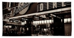 New York At Night - Brooklyn Diner - Sepia Beach Towel