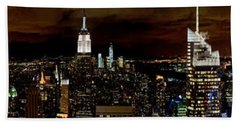 New York At Night Panorama Beach Towel