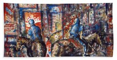 New York Broadway At Night - Oil On Canvas Painting Beach Towel