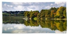 Beach Towel featuring the photograph New York Cincinnatus Lake by Christina Rollo