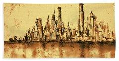 New York City Skyline 79 - Water Color Panorama Beach Towel