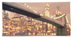 New York City And The Brooklyn Bridge - Night Lights Beach Towel