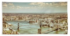 New York City - Brooklyn Bridge And Manhattan Bridge From Above Beach Towel