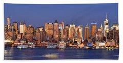 New York City Midtown Manhattan At Dusk Beach Towel