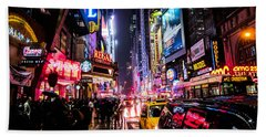 New York City Night Beach Towel by Nicklas Gustafsson