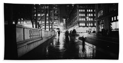 New York City - Night Rain Beach Towel