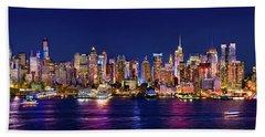 New York City Nyc Midtown Manhattan At Night Beach Sheet