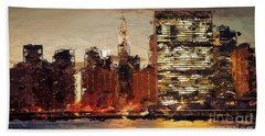 Beach Towel featuring the digital art New York City Skyline Abstract 2 by Anthony Fishburne