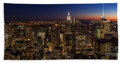 New York City Skyline At Dusk Beach Towel
