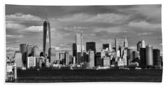 New York City Skyline Black And White Beach Towel