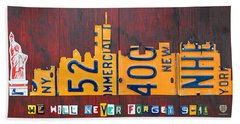 New York City Skyline License Plate Art 911 Twin Towers Statue Of Liberty Beach Towel by Design Turnpike