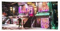 New York City - Snow And Colorful Lights At Night Beach Towel