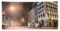 New York City Streets On A Snowy Night  Beach Towel