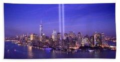 New York City Tribute In Lights World Trade Center Wtc Manhattan Nyc Beach Towel