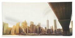 New York City - Under The Brooklyn Bridge - Skyline Sunset  Beach Towel