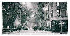 New York City - Winter Night In The West Village Beach Towel
