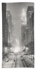 New York City - Winter Night Overlooking The Chrysler Building Beach Towel
