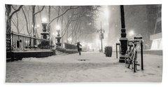 New York City Winter Night Beach Towel