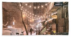 New York City - Winter Snow Scene - East Village Beach Towel
