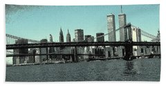 New York Downtown Manhattan Skyline - Blue Panorama Beach Towel
