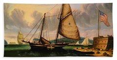 New York Harbor With Pilot Boat George Washington Beach Towel