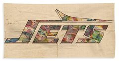 New York Jets Vintage Art Beach Towel