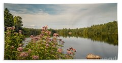 Beach Towel featuring the photograph New York Lake by Debbie Green