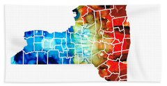 New York - Map By Sharon Cummings Beach Towel