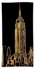 New York On Black Beach Towel
